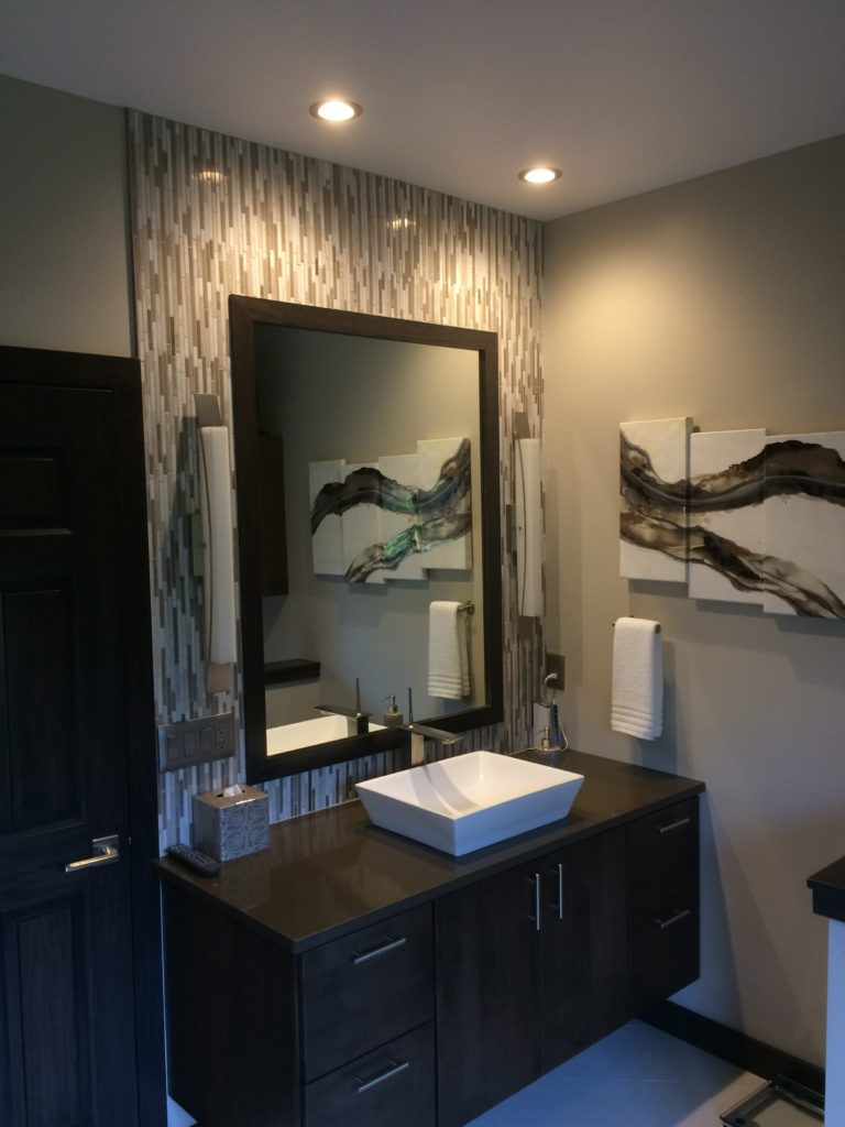 Custom lighting done for a bathroom sink area