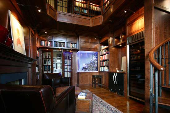 Custom lighting in a private library