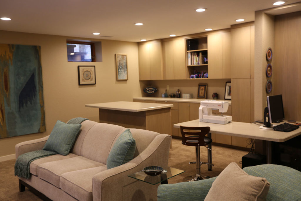 custom lighting in a finished basement