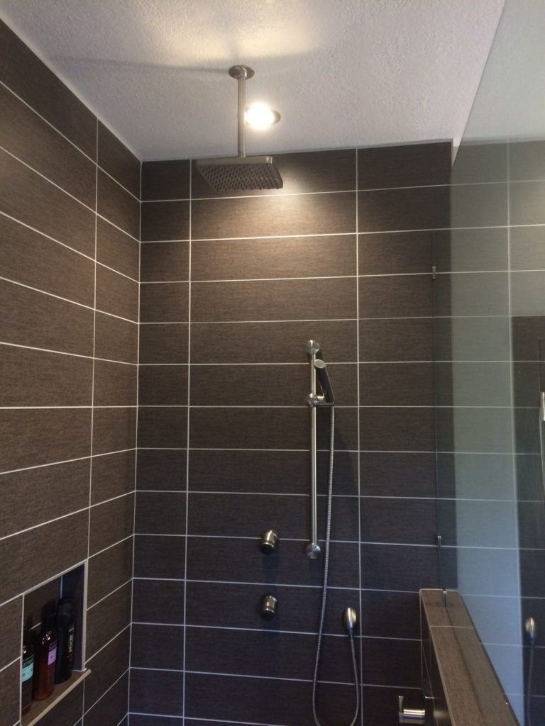 Custom lighting for a brand new shower from an internal viewpoint