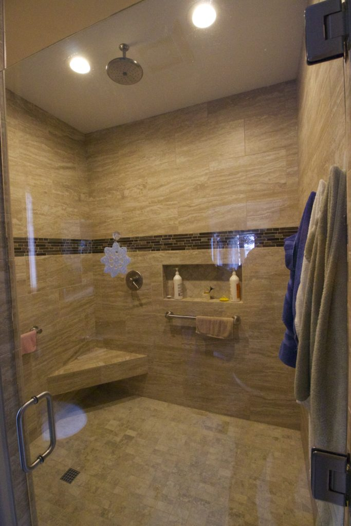 Custom lighting on a large walk-in shower